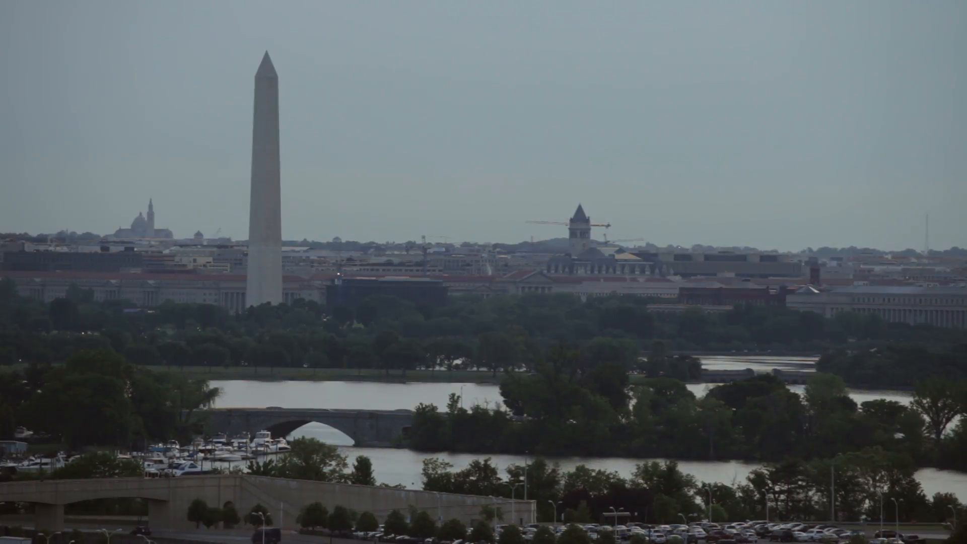 Fast motion of Washington Monument cityscape and Potomac River during  overcast day in Washington DC, USA. Stock Video Footage - VideoBlocks - Washington Monument PNG HD