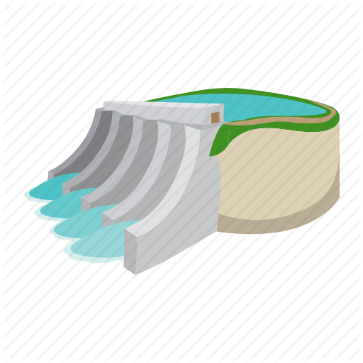 cartoon, dam, electricity, hydro, plant, power, water icon - Water Dam PNG