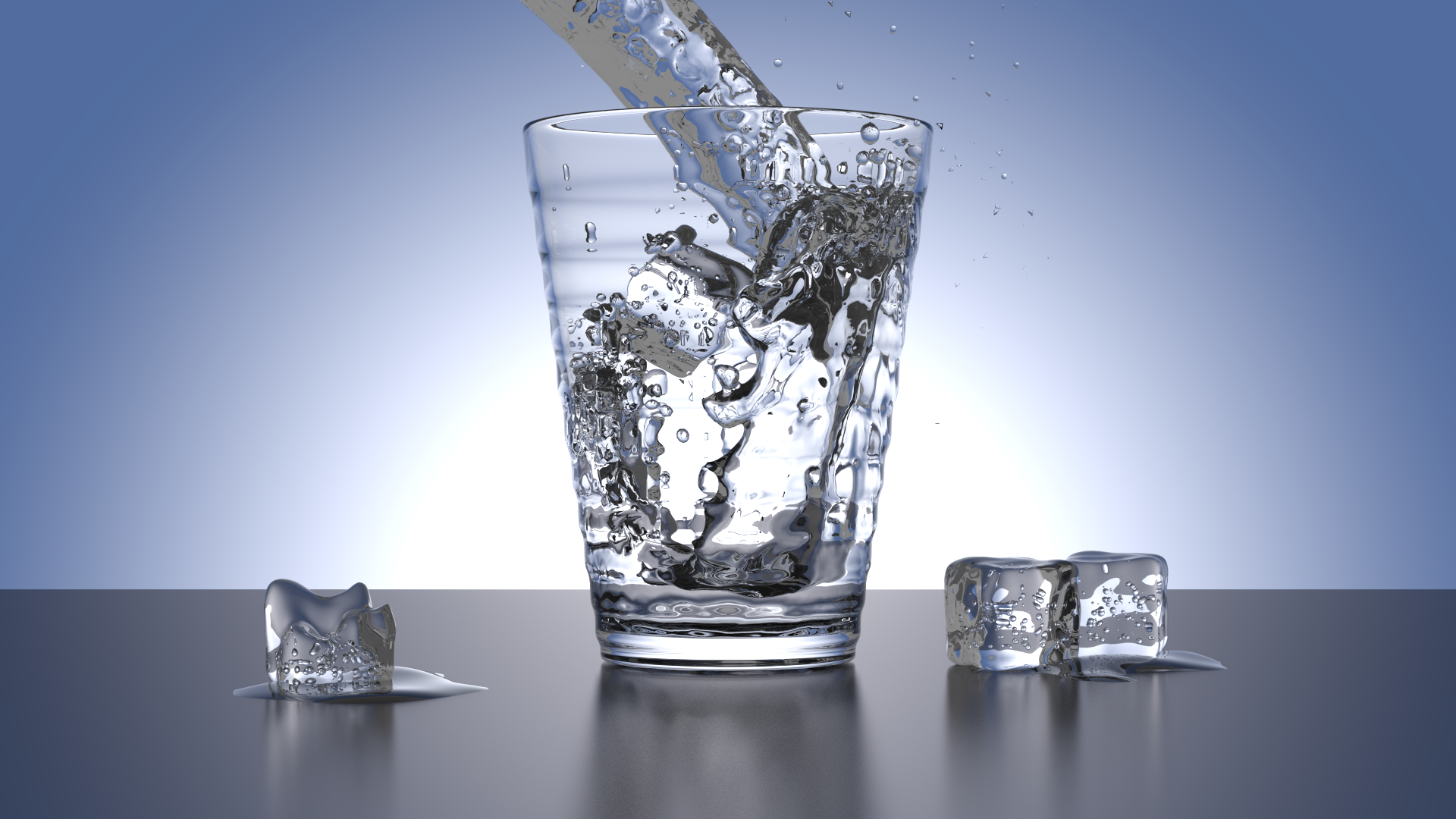 . PlusPng.com Glass Water - Blender with Cycles by batil - Water Glass HD PNG