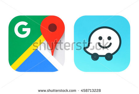 Kiev, Ukraine - June 25, 2016: Collection of popular navigation icons  printed on - Waze Logo Vector PNG