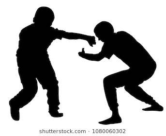 Two boys fighting vector silhouette. Two young brothers fight vector  silhouette illustration. Angry kid - Weak Boy PNG