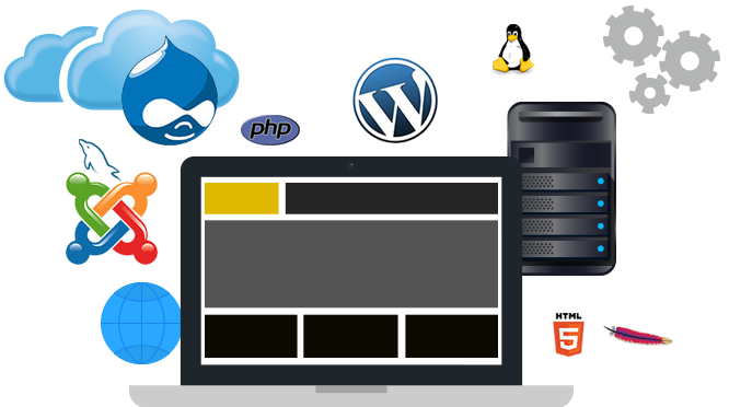 A picture of a laptop with many different web hosting icons around it. - Web Hosting PNG