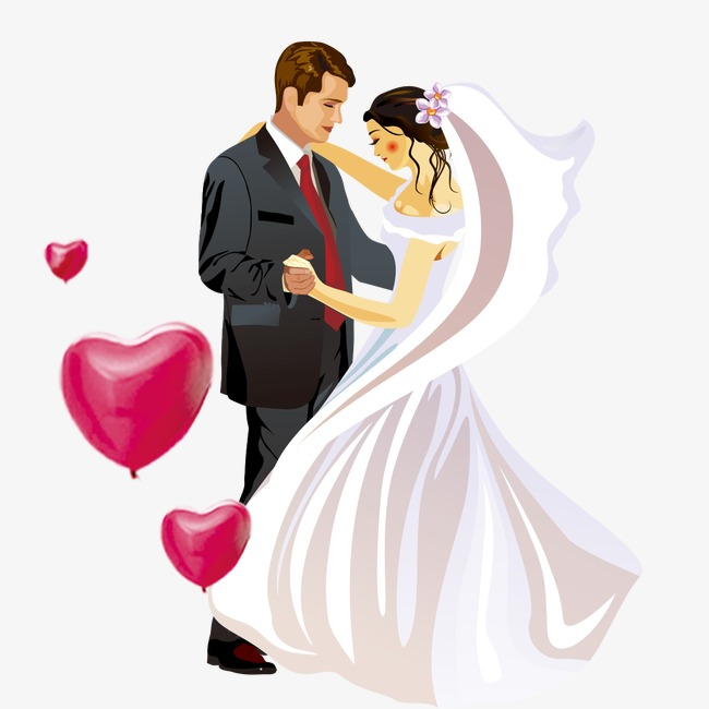 Cartoon lover, Cartoon Couple, Love, Wedding Dress PNG and PSD - Wedding Couples PNG HD