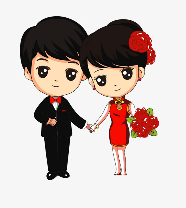 Newly married couple, Wedding, Couple, Cartoon PNG and PSD - Wedding Couples PNG HD