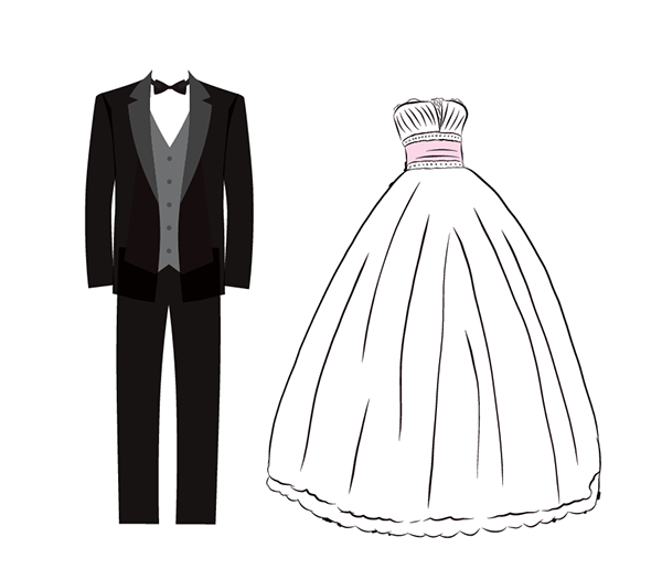 Final of the tuxedo and wedding dress - Wedding Dress And Tux PNG
