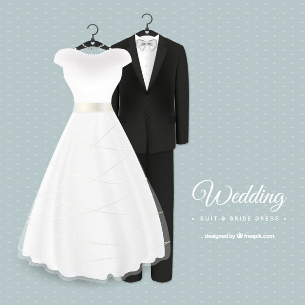 Glamorous wedding suit and bride dress - Wedding Dress And Tux PNG