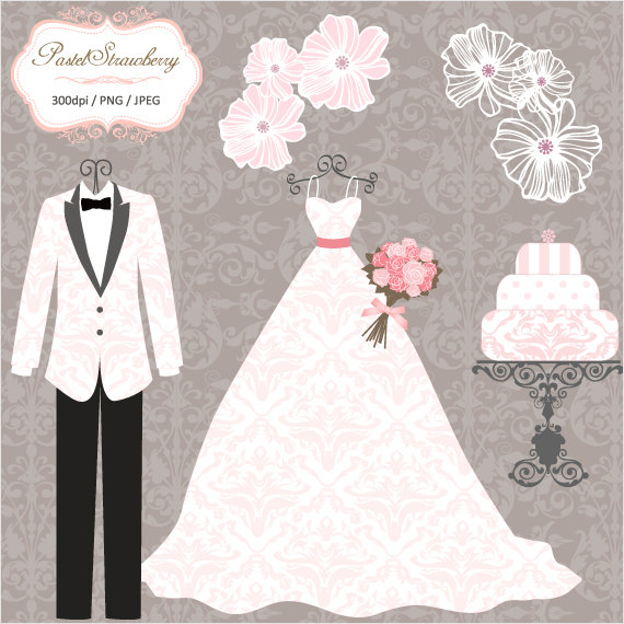 Luxury Wedding Dress u0026 2 Tuxedos - Personal Or Small Commercial Use Clip  Art (P036) - Wedding Dress And Tux PNG
