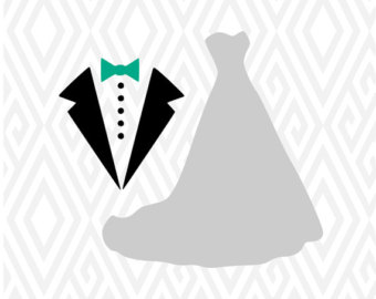 Wedding Dress and Tux Cuttable Design in SVG; DXF; PNG; Ai; Pdf - Wedding Dress And Tux PNG