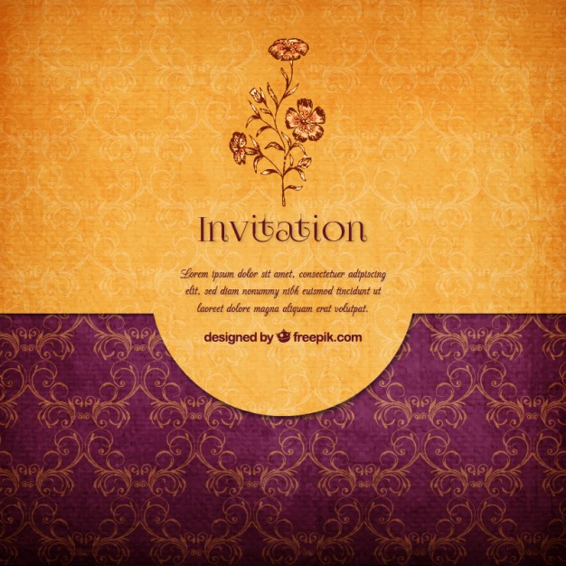 Floral Elegant Invitation Free Vector - Wedding PNG HD Free Download