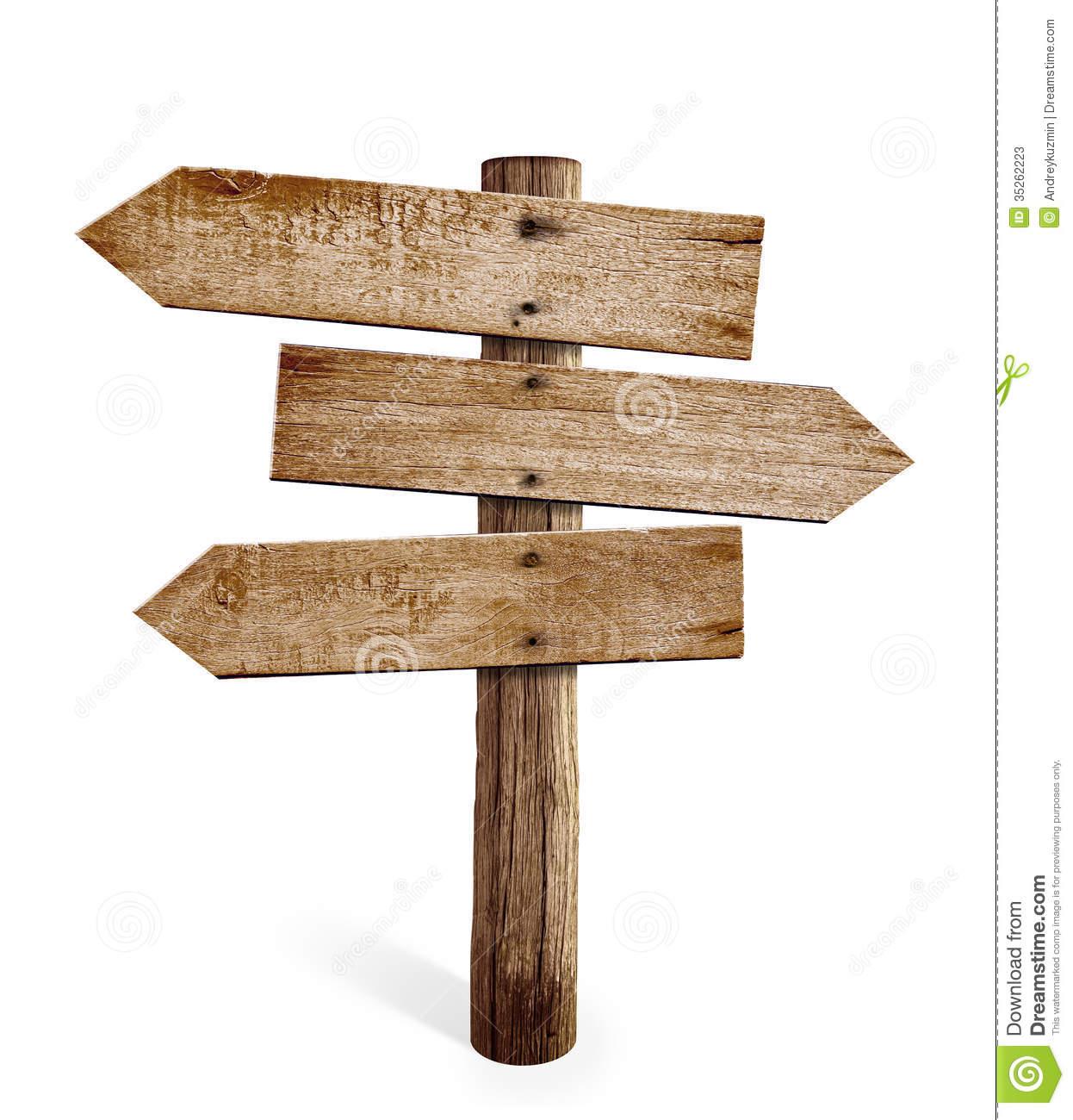 Hölzerner Pfeilwegweiser oder Straßenwegweiser lokalisiert Stockfotos - Wegweiser Holz PNG