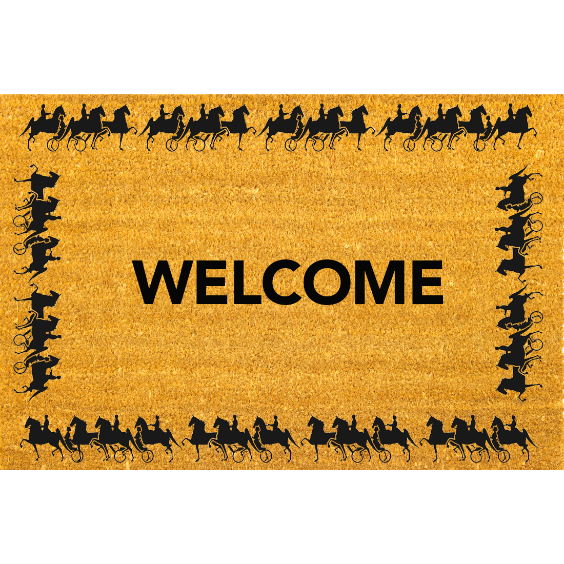 Horse and Carriage Coco Coir Doormat | At The Stables Welcome Mat - Welcome Mat PNG