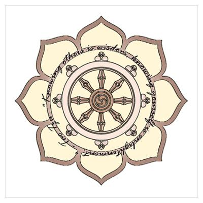 wheel of dharma pictures | Dharma Wheel with Lotus Flowe Wall Art Poster