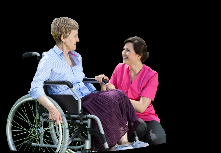 An elderly in a wheelchair talking to a caregiver PlusPng.com  - Wheelchair Elderly PNG