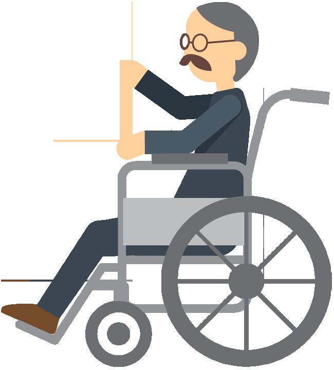 Cartoon elderly man sitting in wheelchair - Wheelchair Elderly PNG