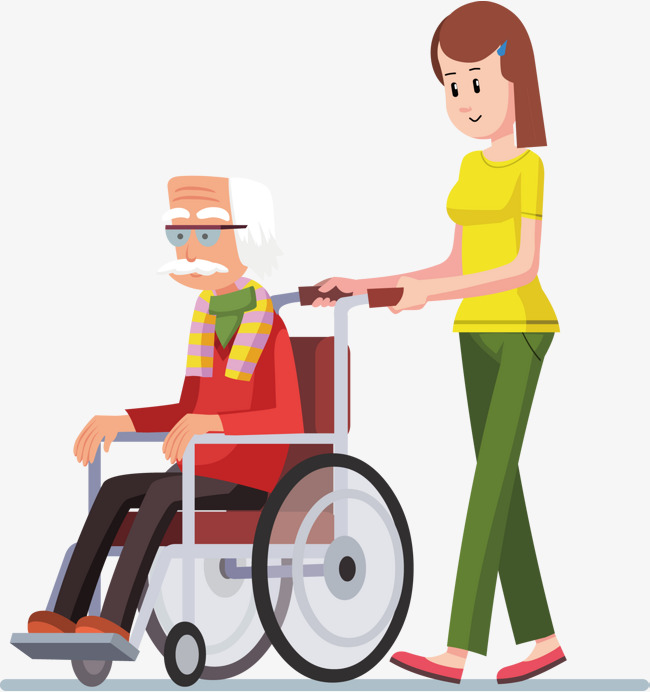 Walking people, Disabled People, Wheelchair, The Elderly Free PNG and Vector - Wheelchair Elderly PNG