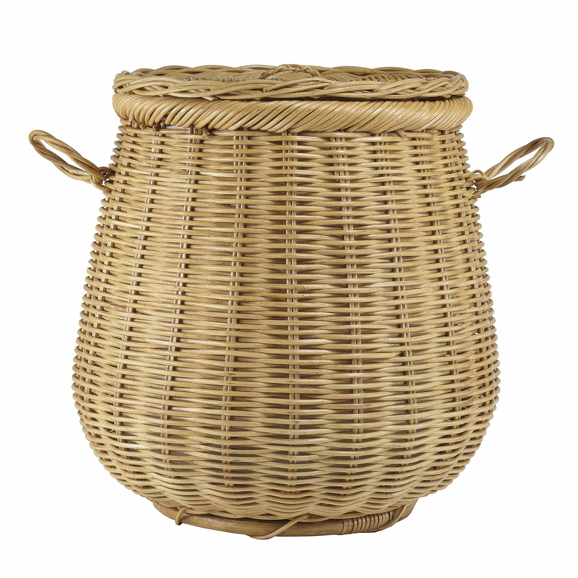 Wonderful Wicker Laundry Basket With Lid - Wicker Basket PNG