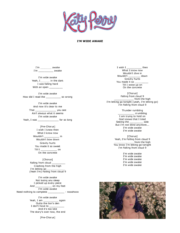 Song Worksheet: Iu0027m Wide Awake by Katy Perry - Wide Awake In Bed PNG