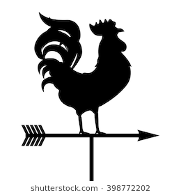 Vector illustration rooster weather vane. Black silhouette rooster, cock. Weather  vane symbol, - Wind Vane PNG Black And White