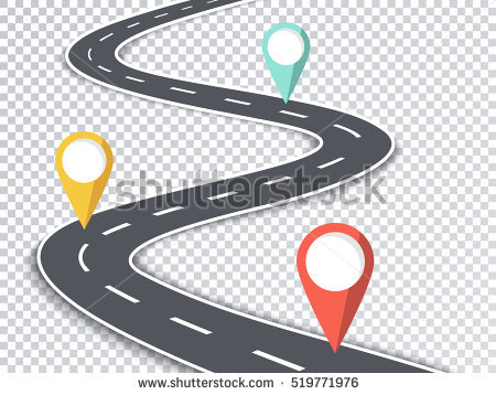 Winding Road Isolated Transparent Special Effect. Road Way Location  Infographic Template with Pin Pointers. - Winding Road PNG HD
