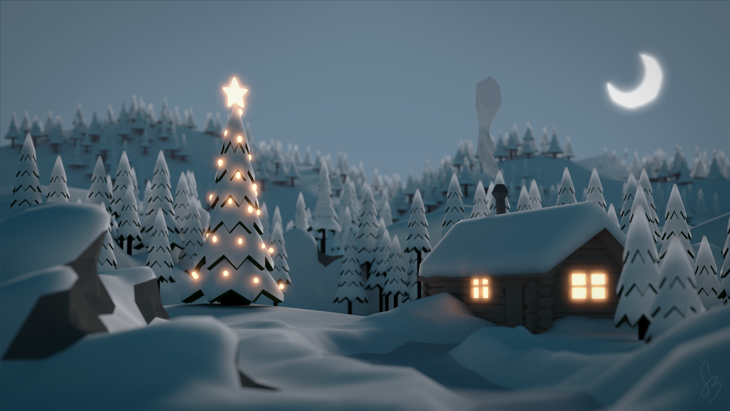 Artistic - Winter Artistic Cabin Tree Christmas Tree Moon Forest Snow  Wallpaper - Winter PNG HD