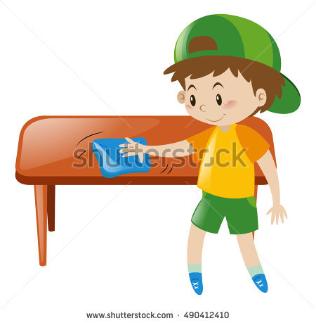 Little Boy Cleaning Table With Cloth Ilration Wiping The Png