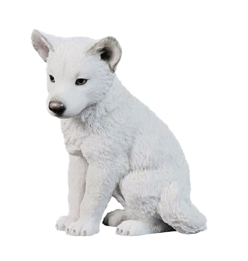 Arctic Wolf Cub Puppy Hand Painted Figurine by Veronese Quality Ornament  Statue 5700 - Wolf Pup PNG