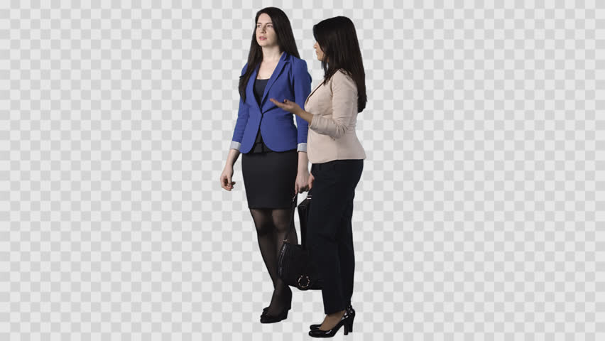 Two young white women in office clothes are standing and discussing.  Footage with transparent background - Women HD PNG
