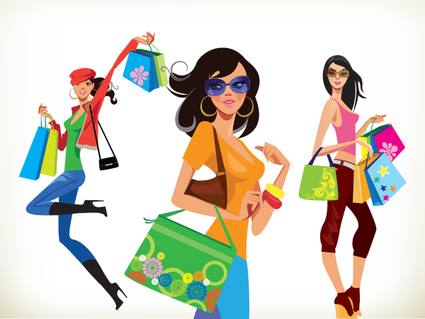 shopping-girls-free-vector - Women Shopping PNG HD
