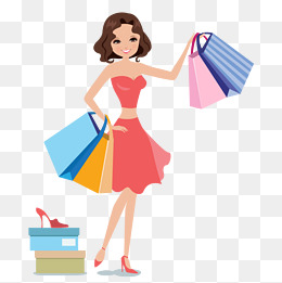 Women shopping vector, The Mall, Paper Bags, Try PNG and Vector - Women Shopping PNG HD
