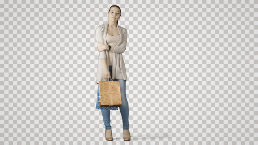 Young standing woman with bags waits friend after shopping. Green screen  footage. File format - Women Shopping PNG HD