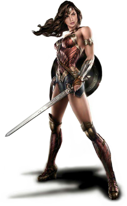 Wonder Woman with sword and shield concept art.png - Wonderwoman HD PNG