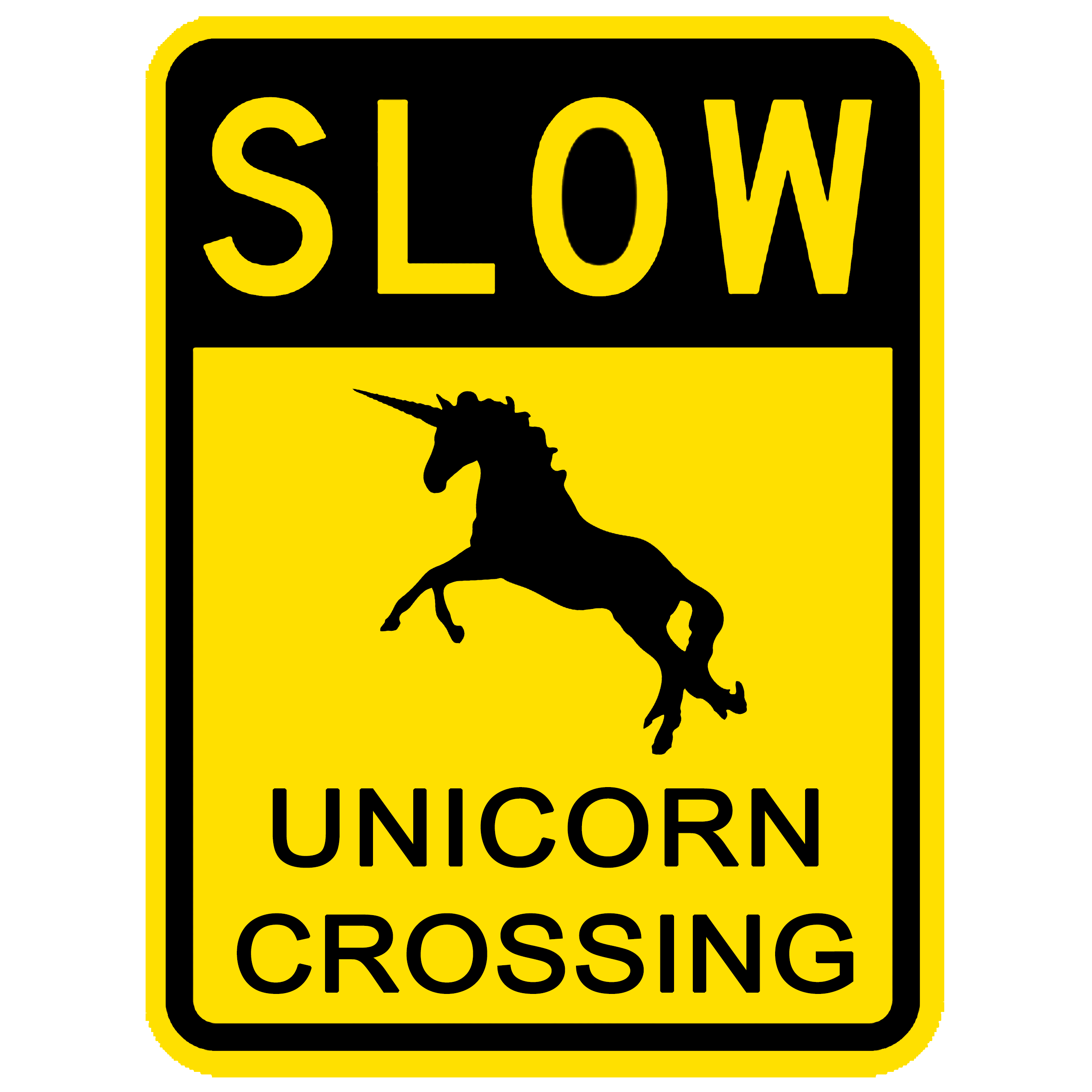 SLOW UNICORN CROSSING FUNNY SIGN PNG HD HQ - Woo Hoo PNG HD