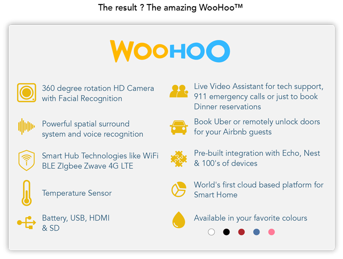 Speaking the language of almost any smart device and controllable by voice,  WooHoo delivers great value and a multitude of features for your  convenience. - Woo Hoo PNG HD