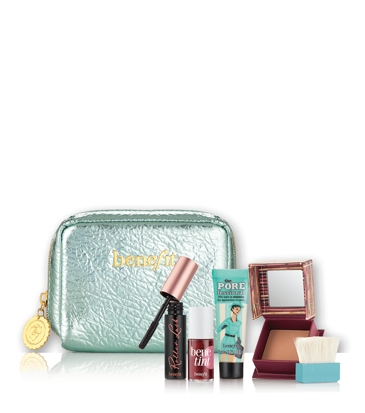 Work kit, girl makeup kit contains Benefit bestsellers benetint, hoola,  roller lash, - Makeup Kit Products PNG
