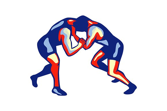 Freestyle Wrestling Retro - Illustrations - Wrestling HD PNG