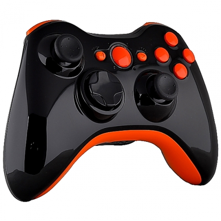Xbox 360 Controller -Piano Black U0026 Orange Buttons - Xbox 360 Controller PNG