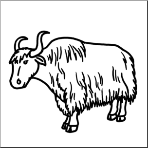 Clip Art: Yak Bu0026W I abcteach pluspng.com - preview 1 - Yak PNG Black And White