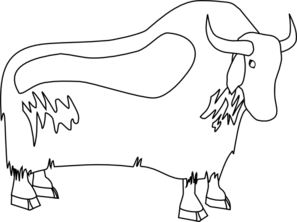 Yak Outline Clip art - Yak PNG Black And White