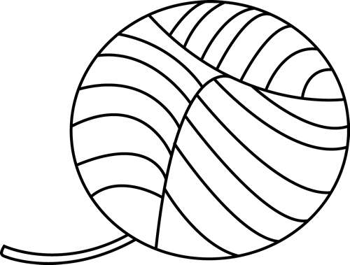 Black and White Ball of Yarn - Yarn PNG Black And White