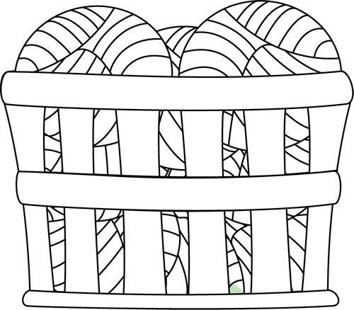 Black and White Basket of Yarn - Yarn PNG Black And White