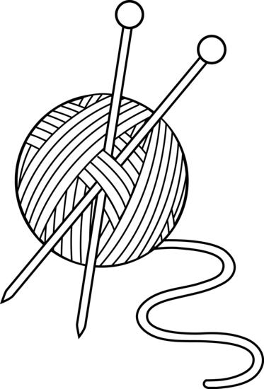 Black and White Knitting Set - Free Clip Art - Yarn PNG Black And White