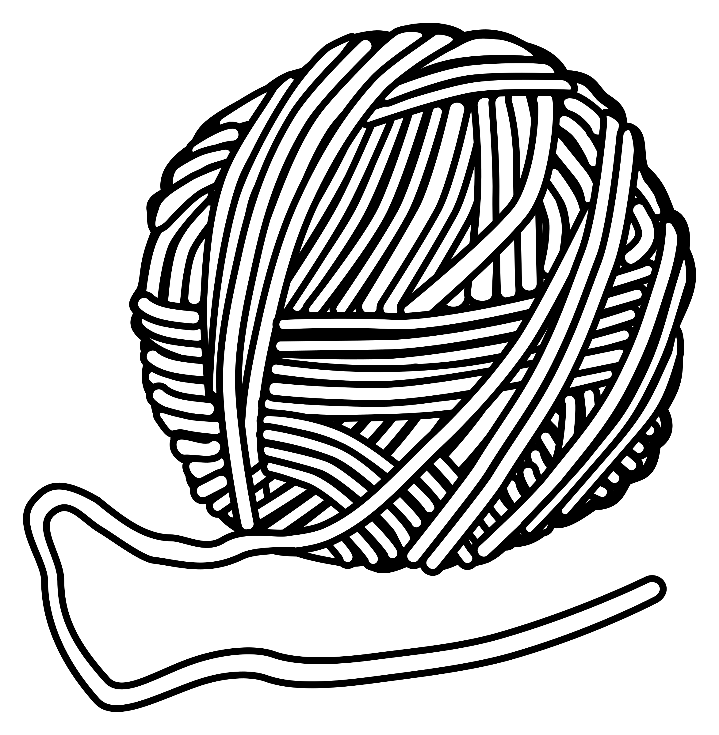 Clipart wool lineart - Yarn PNG Black And White