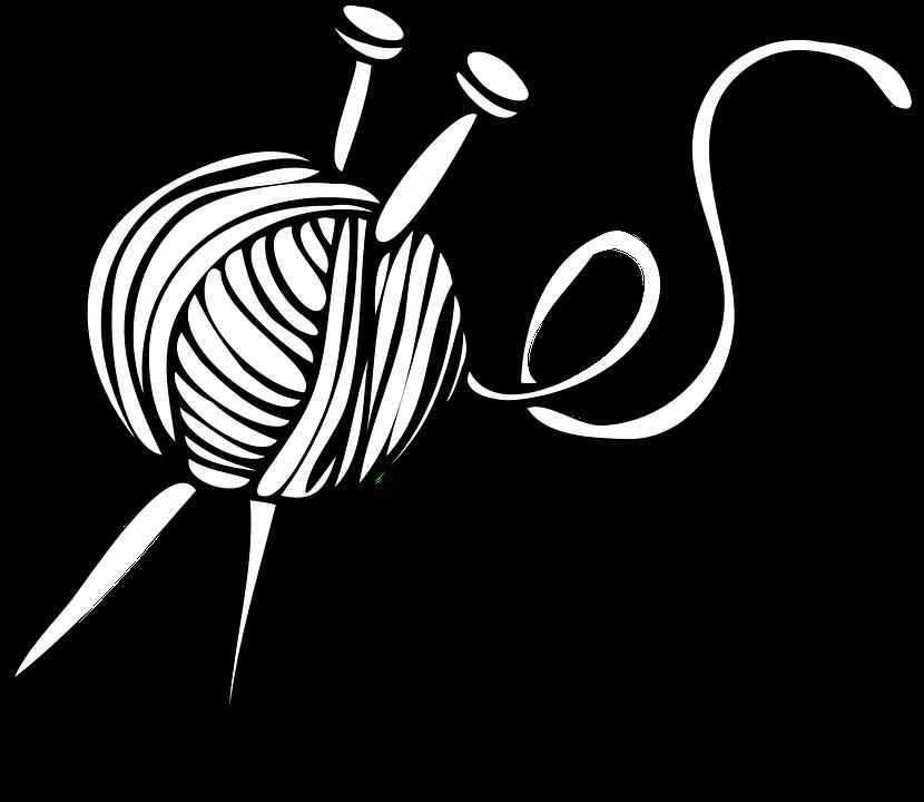 Knitting, Ball, Needles, Yarn - Yarn PNG Black And White