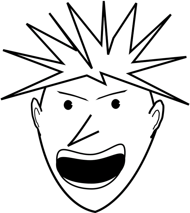 man angry face head yelling shouting spikes hair - Yelling PNG Free