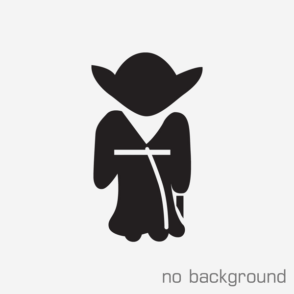 Yoda PNG Black And White - 40402