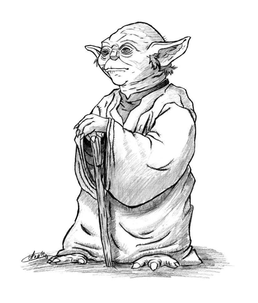 Yoda PNG Black And White - 40396