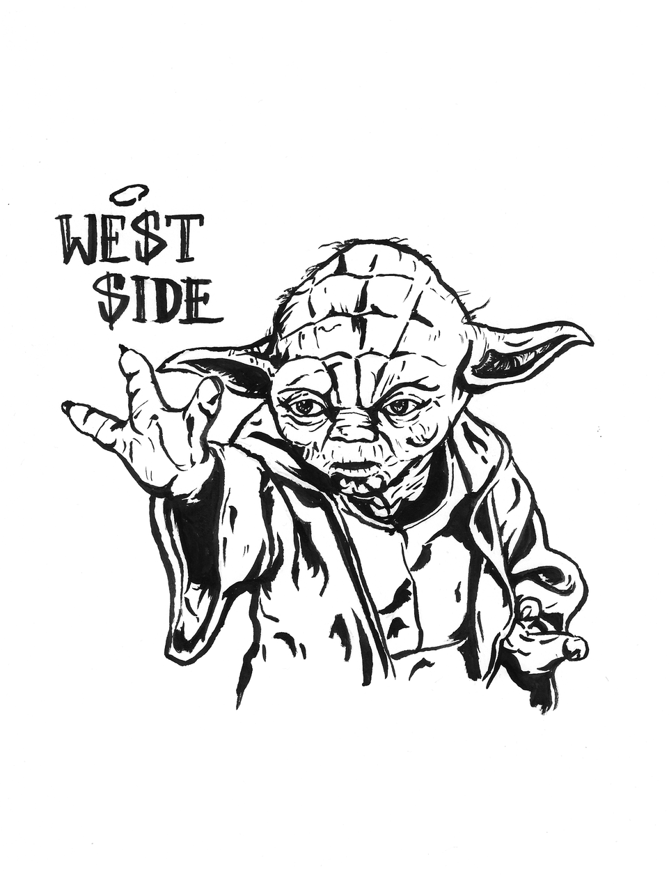 Illustration Yoda Black and white Star Wars - Yoda PNG Black And White