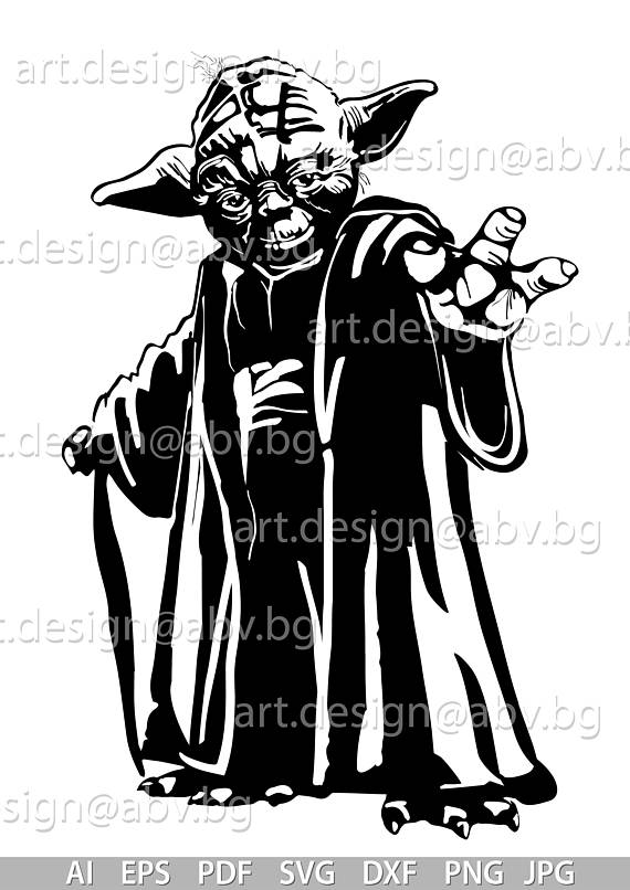 Yoda PNG Black And White - 40399