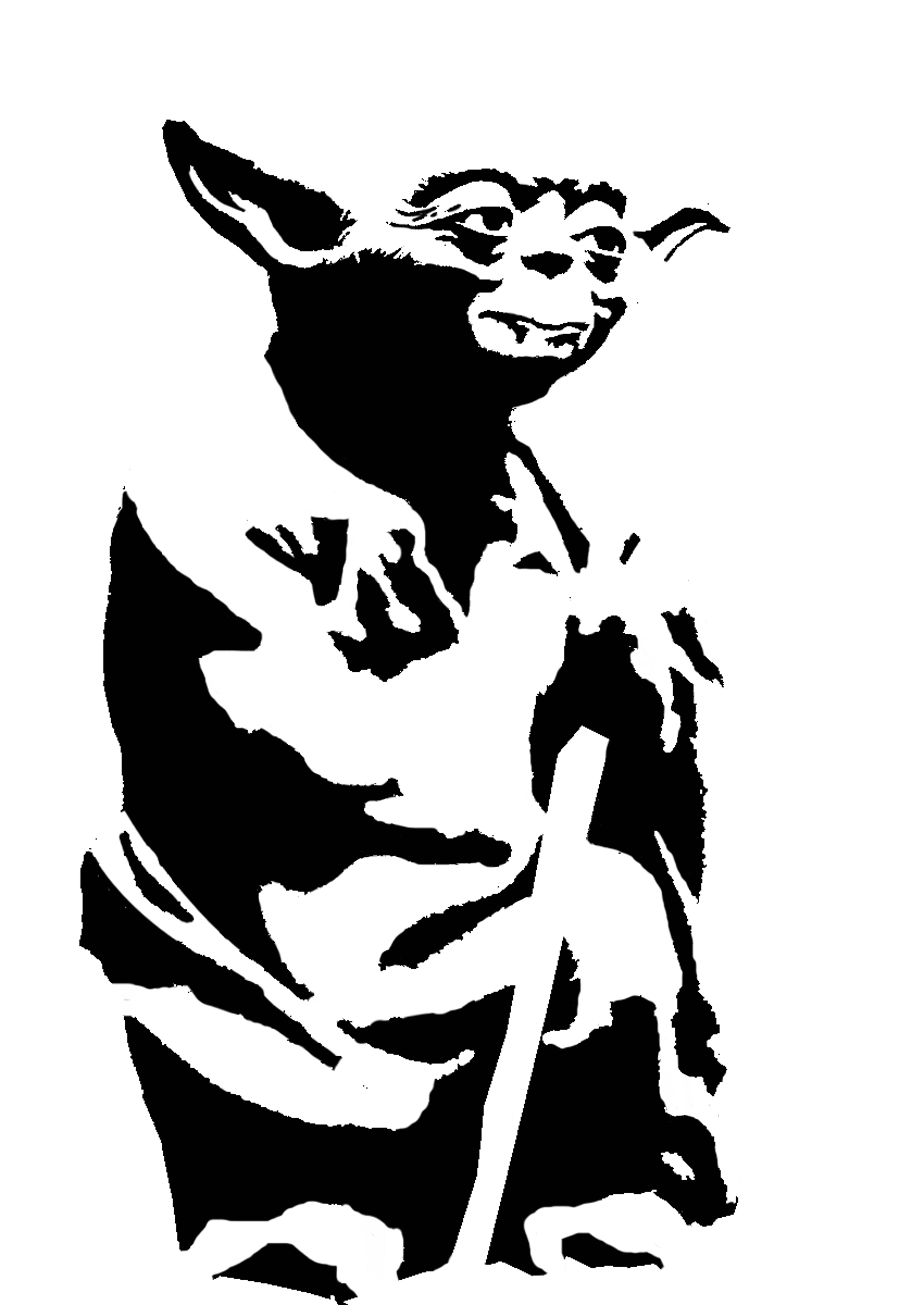 Yoda PNG Black And White - 40398