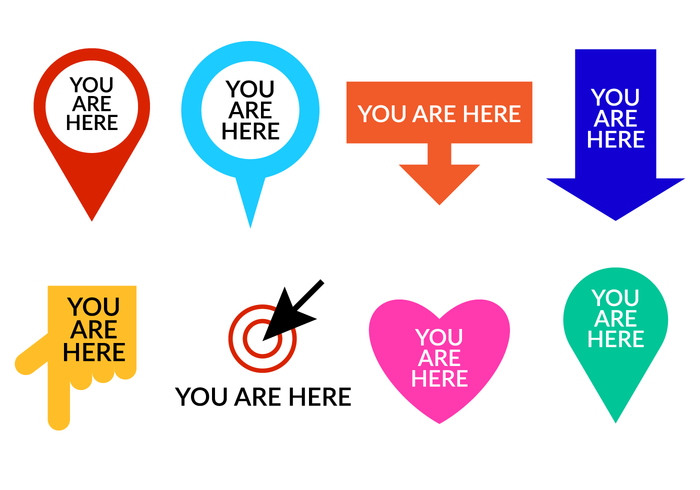 Set Of You Are Here Symbol Vector - You Are Here PNG HD